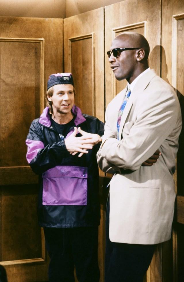Dana Carvey and Michael Jordan during a Saturday Night Live skit in New York September 28 1991.