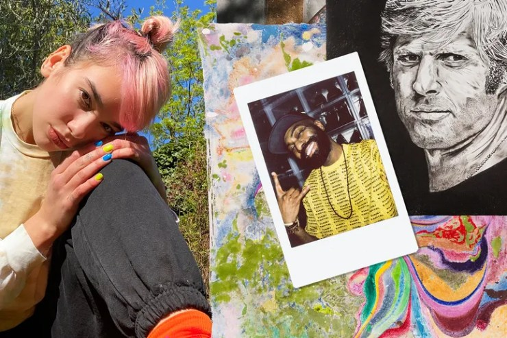 collage of images: self portrait of dua lipa, self portrait of desus nice, artwork by chris johanson, artwork by wes lang
