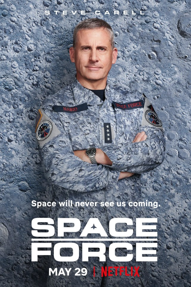 Steve Carell posing for the poster of Space Force