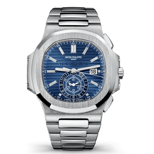 A silver and blue patek