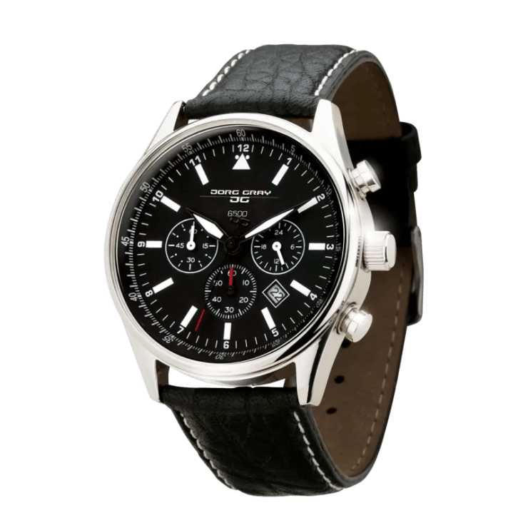 A black and steel watch