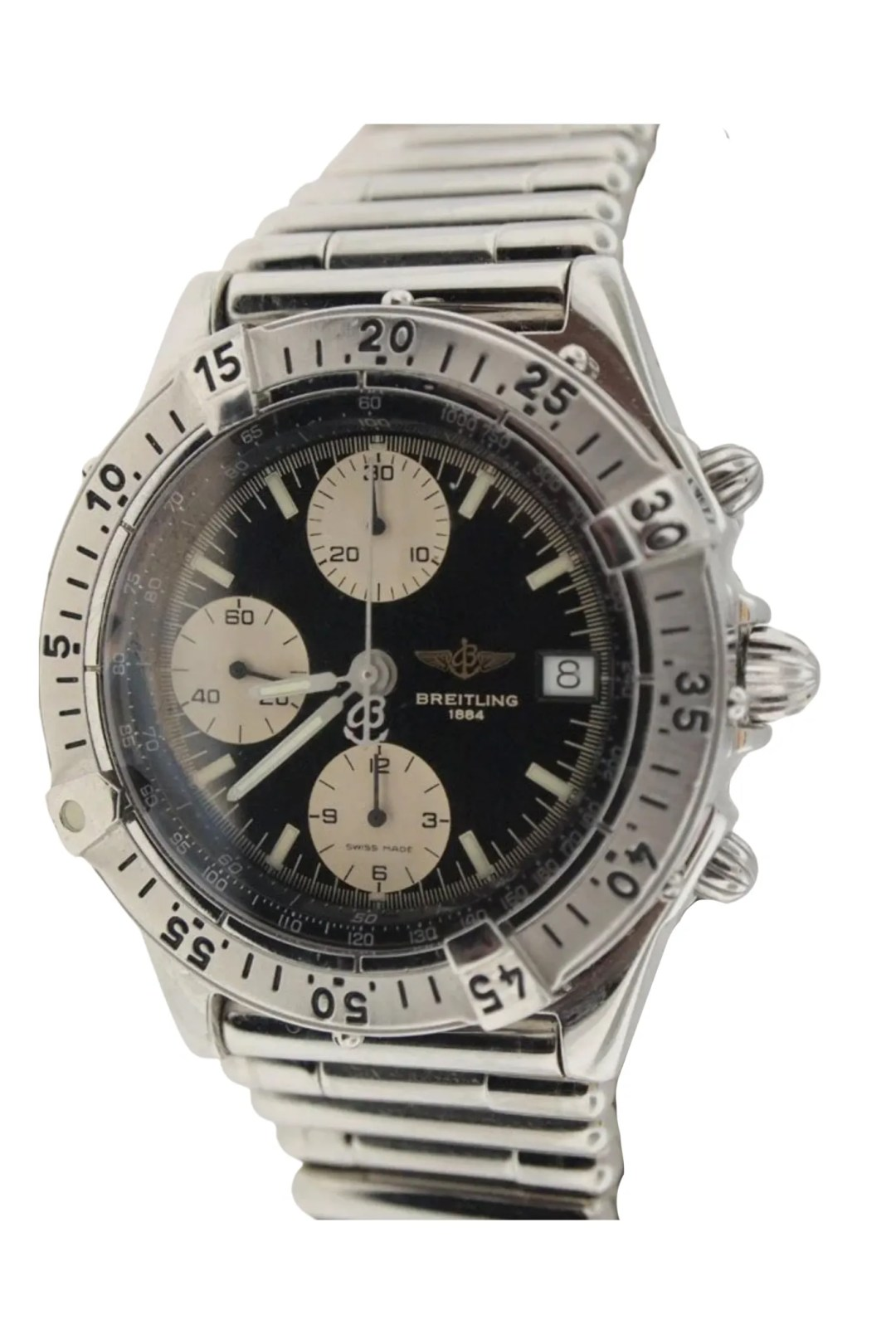 A beat up silver and black watch