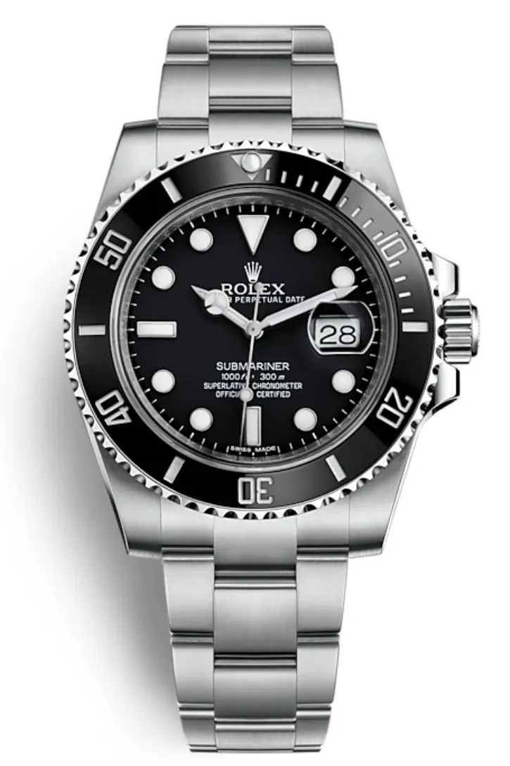 A silver and black rolex