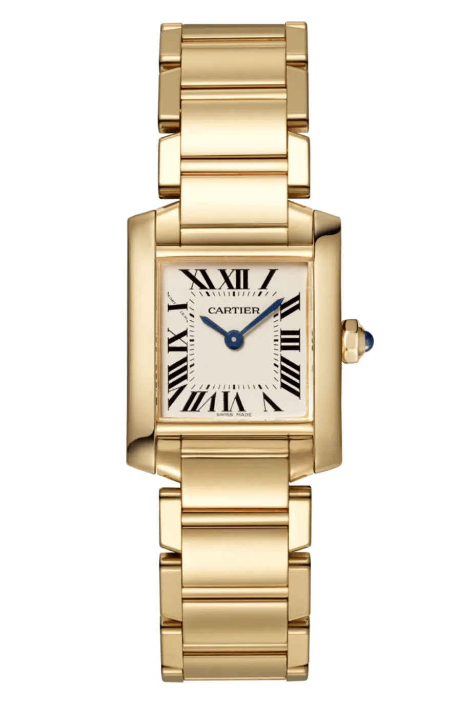 A gold watch with a square face