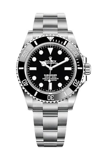 A silver rolex with a black bezel and face