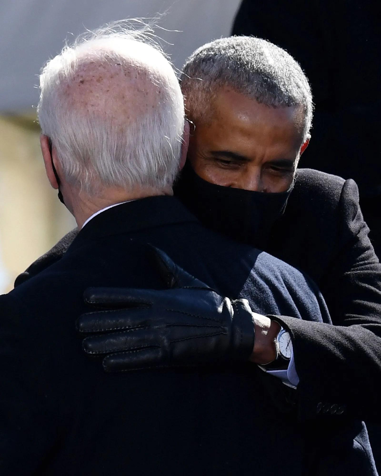 Barack Obama and Joe Biden hugging