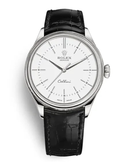 A silver watch with a white face and black leather strap