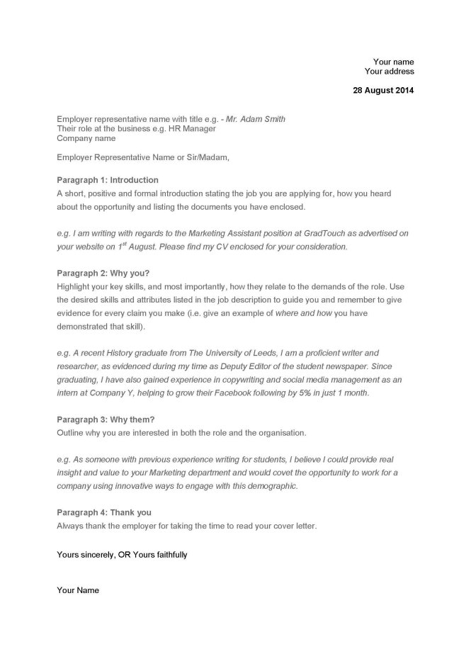 Picture Of A Cover Letter 14 Format