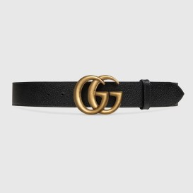 Gucci Leather belt with Double G buckle in Black (Size 75)
