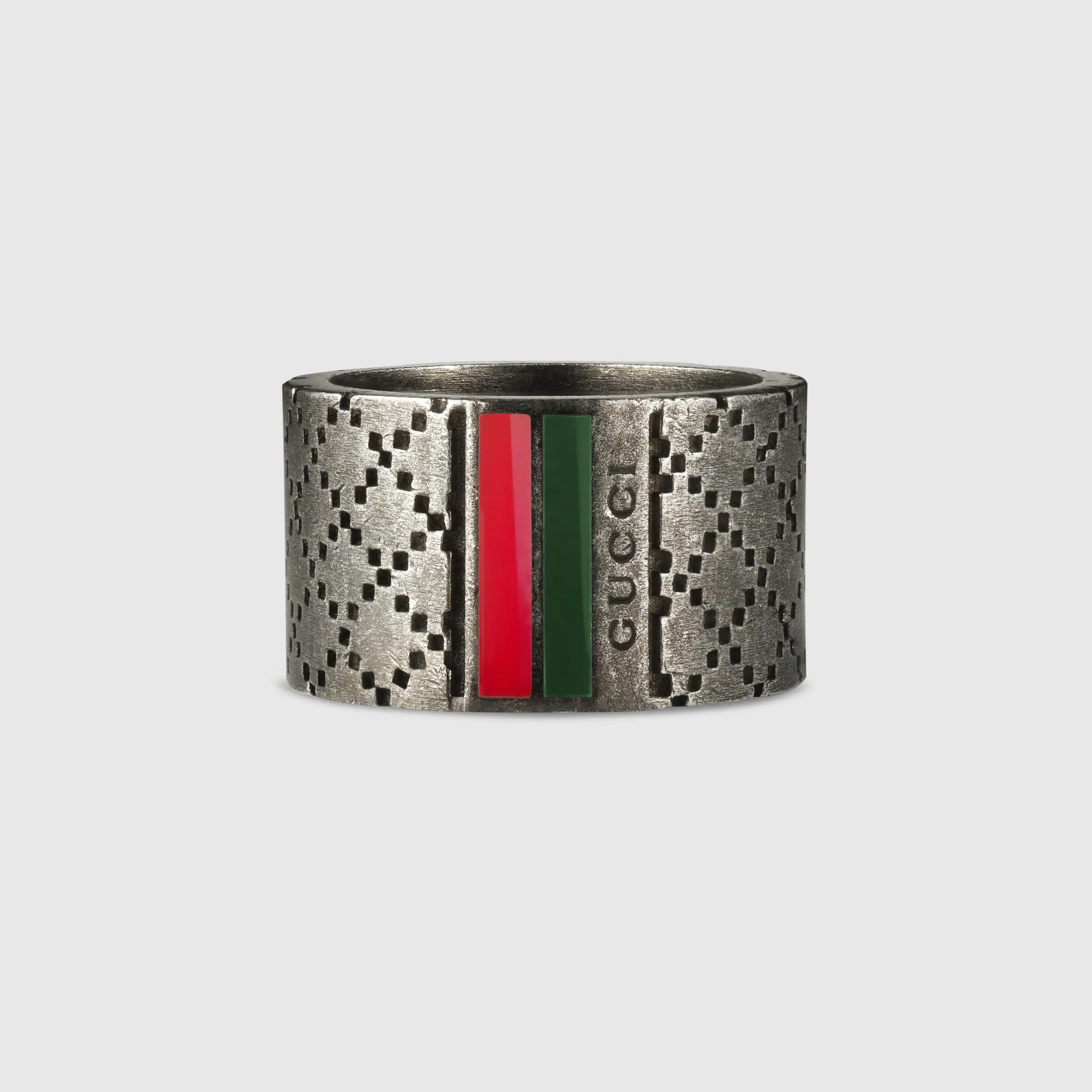 Wide ring with Diamante motif  Gucci Mens Rings