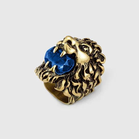 sapphire blue crystal Lion head ring with crystal  GUCCI US