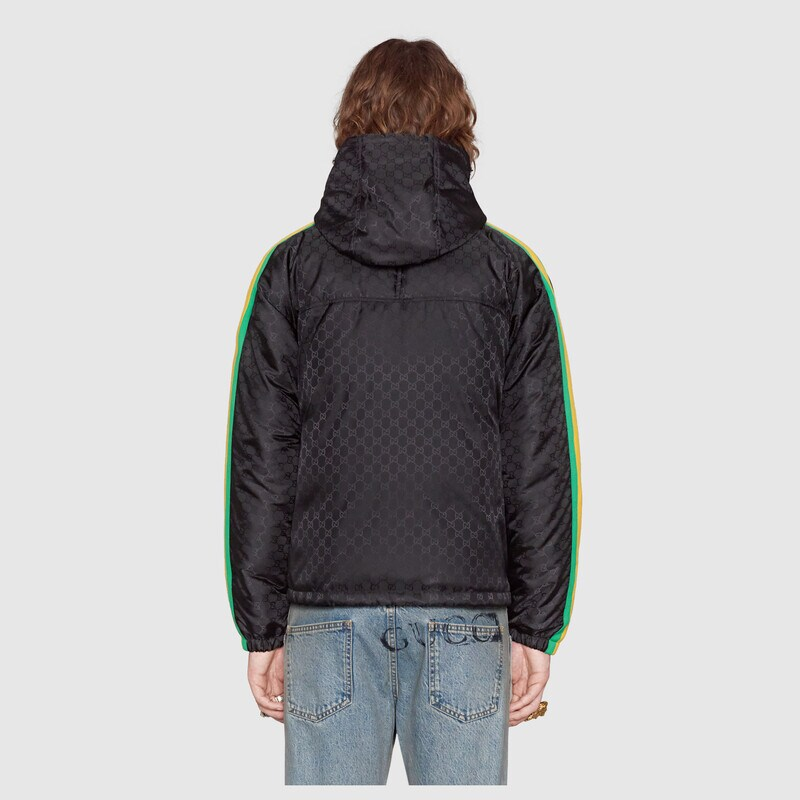 Gucci Gg Jacquard Nylon Jacket Detail 4