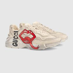 3c30e77794d Rhyton Sneaker With Mouth Print In White Leather Treated For A