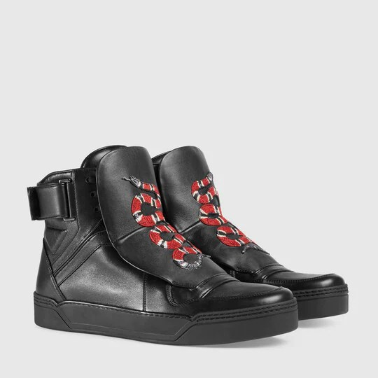 Gucci Men - Leather high-top sneaker with snake - 431298A38401000