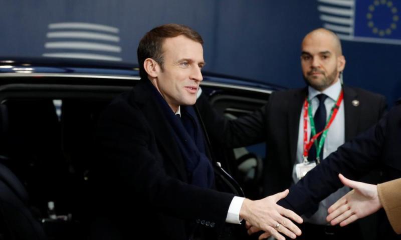 Emmanuel Macron arrives at the EU summit on Friday.