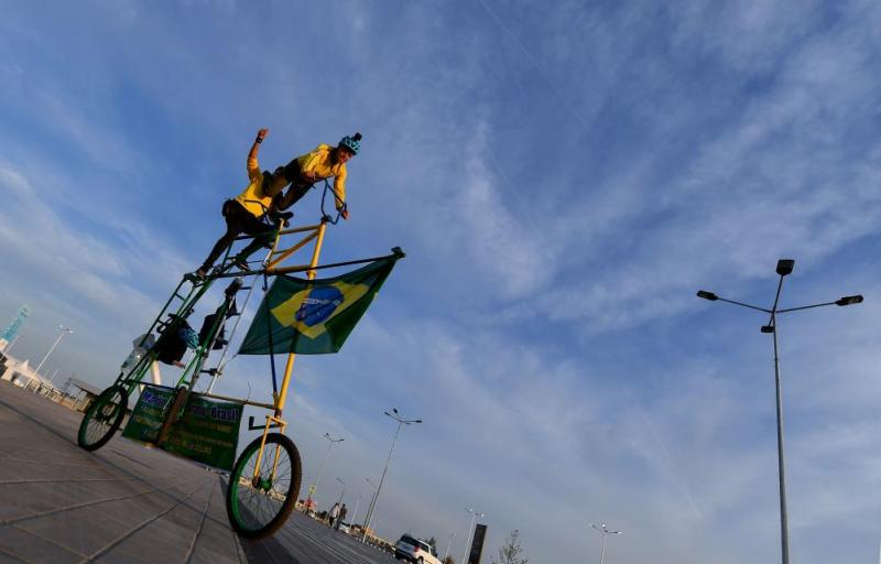 Nothing says World Cup fever quite like a homemade three metre-high tandem bicycle but those crazy Brazilians have done it again, riding this beauty around the Rostov Arena ahead of the Selecao's meeting with Switzerland.
