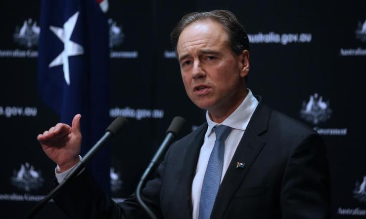 Health minister Greg Hunt announces there were just 96 new cases on Wednesday, Australia's lowest daily increase in three weeks.
