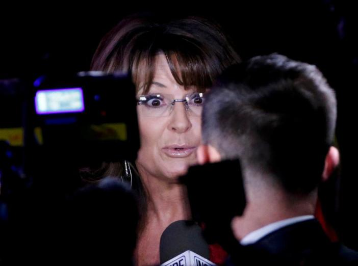 Former Governor of Alaska Sarah Palin is interviewed at Trump's election night rally.