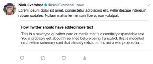 A mock-up of how a 'notes' attachment on Twitter might look