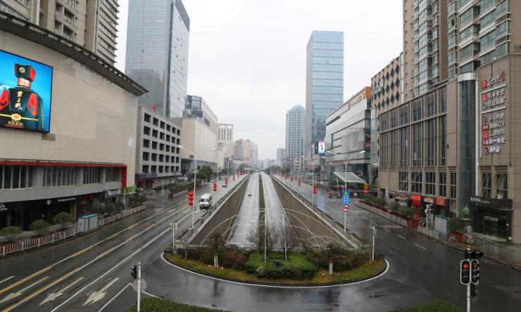 Deserted streets in Wuhan today.