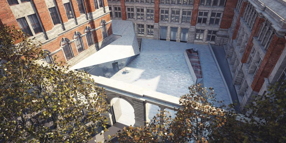 Elevated view down to the new Sackler Courtyard at the V&A museum in London.