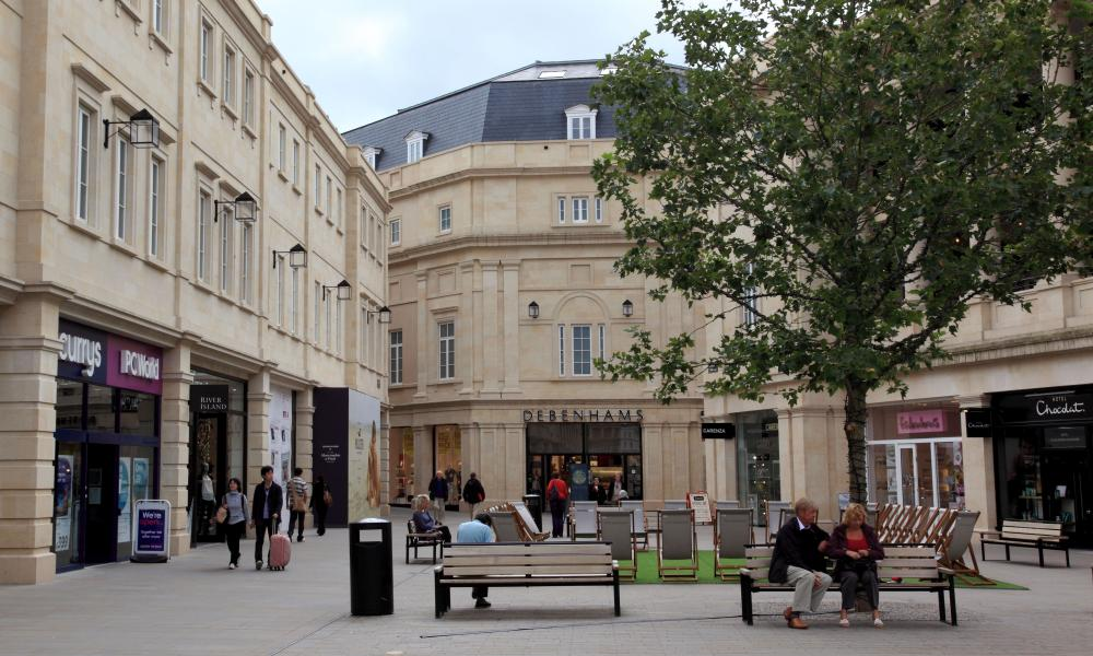 Southgate, one of the city's pedestrianised zones. Bath.