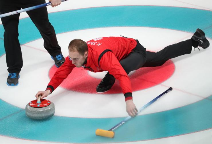 Kyle Smith of Great Britain in action during the Men's Curling Round Robin session between Great Britain and Denmark at the Gangneung Curling Centre, in Gangneung.