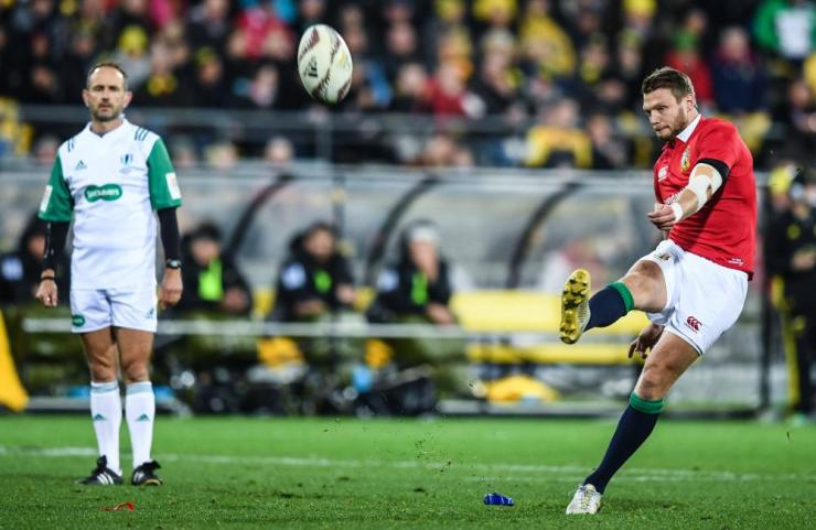 Dan Biggar of the British & Irish Lions kicks a penalty.