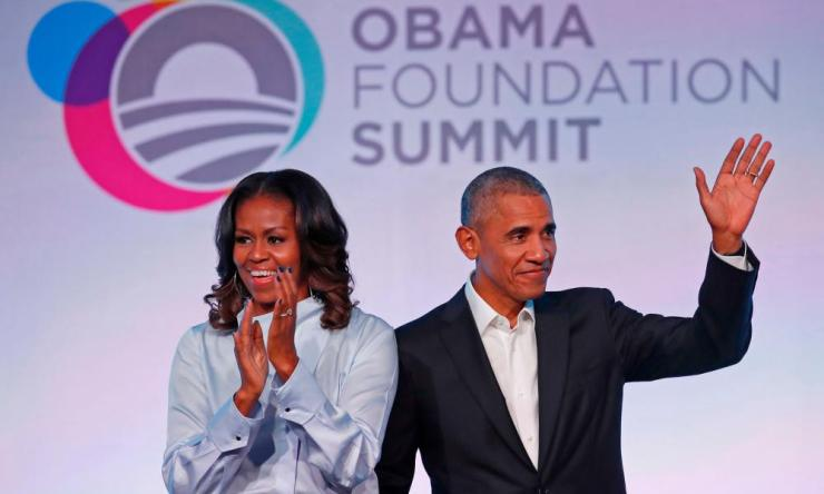 Former US President Barack Obama and his wife Michelle a at the Obama Foundation Summit in Chicago, Illinois, 31 October, 2017.