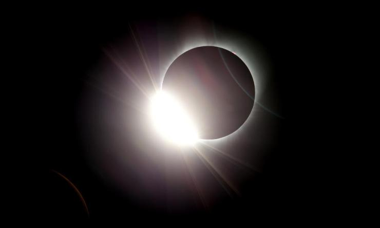The moon almost totally eclipses the sun in Salem, Oregon.