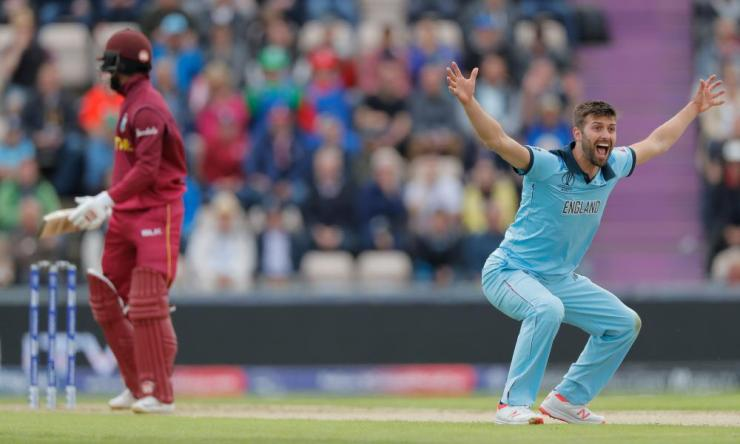 England's Mark Wood successfully appeals for the wicket of West Indies' Shai Hope.