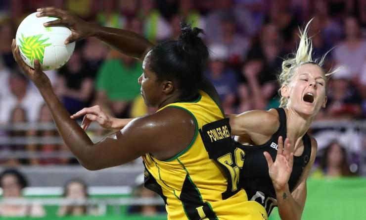 Jhaniele Fowler-Reid of Jamaica (L) and Katrina Grant of New Zealand compete for the ball during the Netball Bronze Medal Match on day 11 of the Gold Coast 2018 Commonwealth Games.