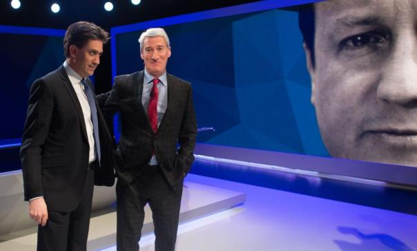 Ed Miliband and Jeremy Paxman in the Sky studio. They're both alright.