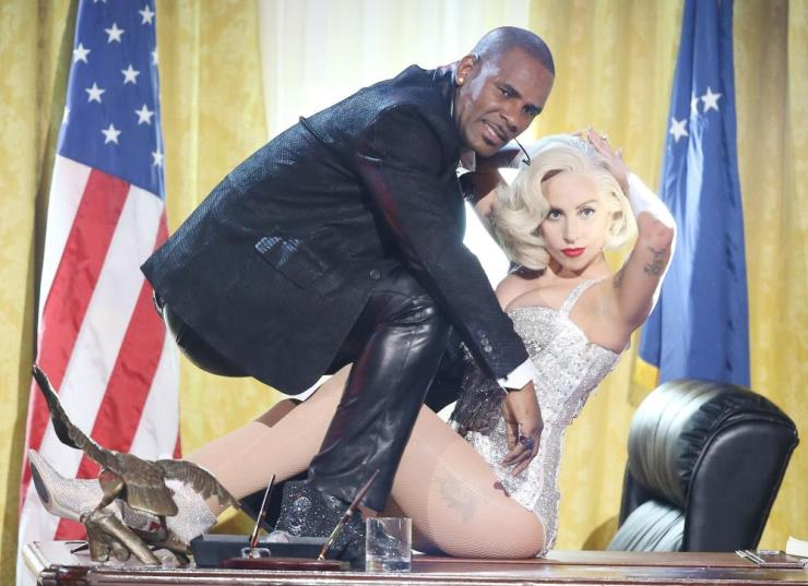 Even collaborators such as Lady Gaga, here performing onstage with Kelly in 2013, now believe the rapper's accusers.