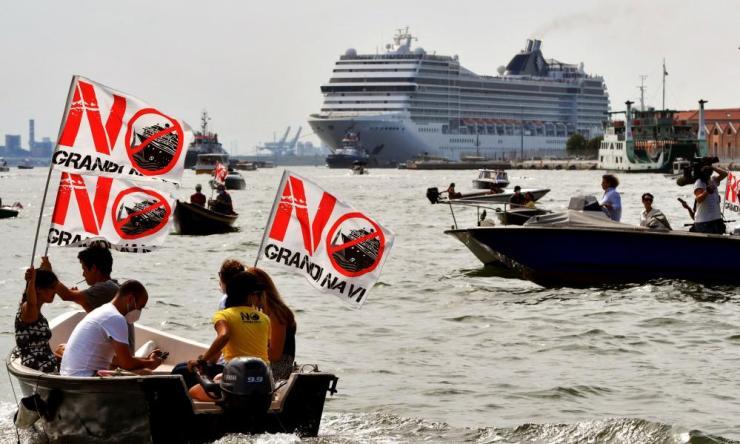 "Environmental protesters from the ""No Grandi Navi"" group."