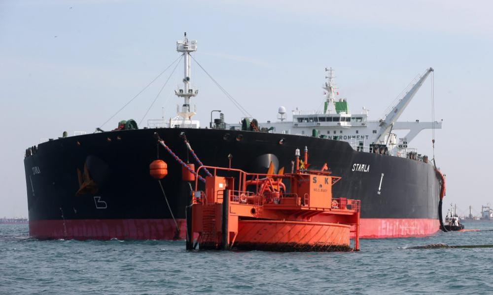 The Starla, an Iranian oil tanker with a capacity of 317,000 tons, moored off South Korea earlier this month.