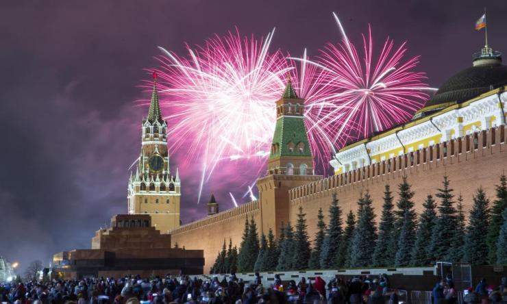 Fireworks explode over the Kremlin during New Year's celebrations in Red Square.