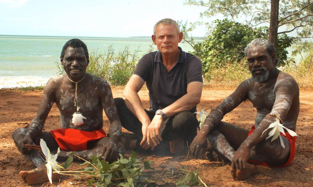 Martin Clunes with inhabitants of the Tiwi islands, which are 60 miles north of Darwin.