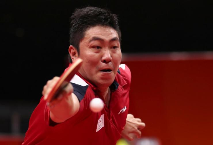 Gao Ning of Singapore in action in the men's singles final.