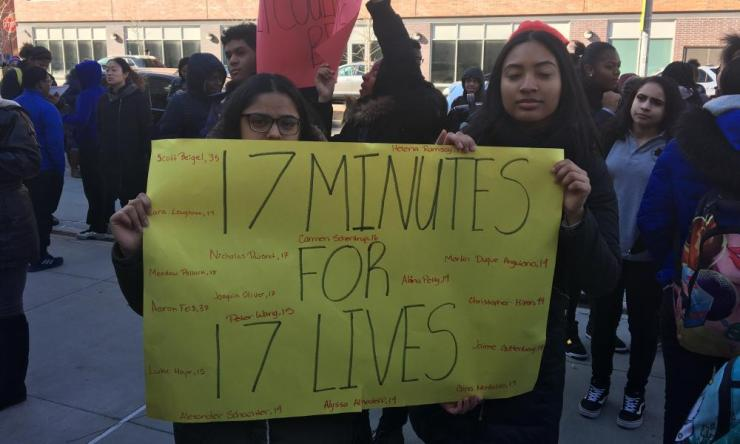 Hundreds of students walked out of the Academy for Young Writers high school in Brooklyn
