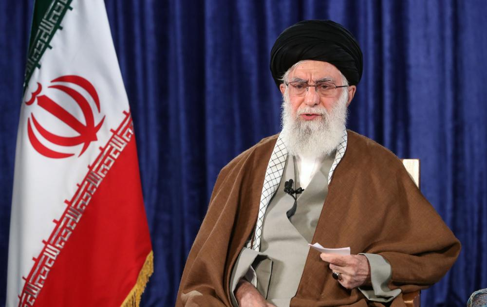 Iranian Supreme Leader Ayatollah Ali Khamenei addressing the nation during a live TV speech from Tehran on Thursday