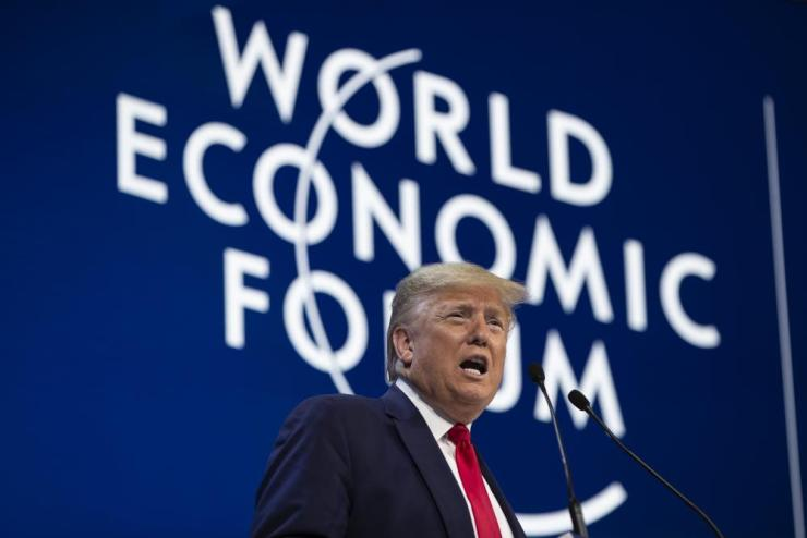 Donald Trump delivers the opening remarks at the World Economic Forum.