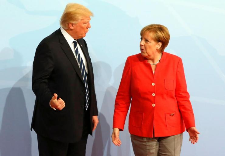 Merkel and the US president, Donald Trump.