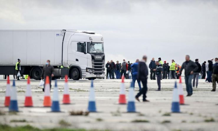 Lorry drivers gather at Manston International Airport