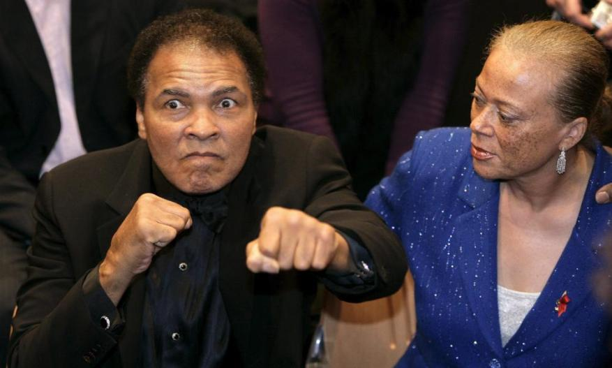 Boxing legend Muhammad Ali, pictured with wife Lonnie at one of his daughter Leila's fights in 2005, has died at the age of 74.