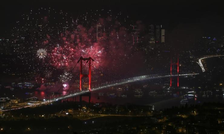 The city of Istanbul is illuminated by an impressive pyrotechnic display to welcome in 2020.