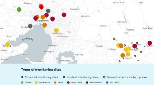 Air quality monitoring across parts of Victoria