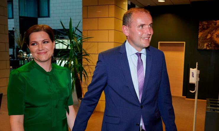 President of Iceland, Gudni Johannesson (R) and first lady of Iceland Eliza Reid arrive to celebrate his re-election at a hotel in the Icelandic capital Reykjavik on June 27, 2020. Credit: Photo by Halldor KOLBEINS / AFP