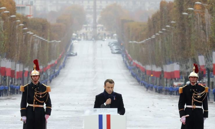 French President Emmanuel Macron delivers a speech during the international ceremony for the centenary of the armistice.