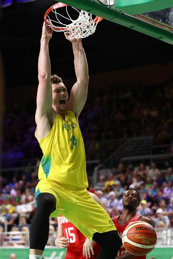 Australia forward Angus Brandt (14) dunks for Australia during the Men's Gold Medal Basketball Game between Australia and Canada on day 11 of the Gold Coast 2018 Commonwealth Games.